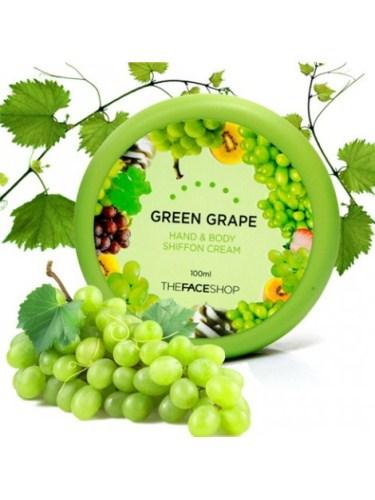 KEM DƯỠNG DA TAY NHO XANH THE FACE SHOP HAND & BODY CHIFFON CREAM - GREEN GRAPE